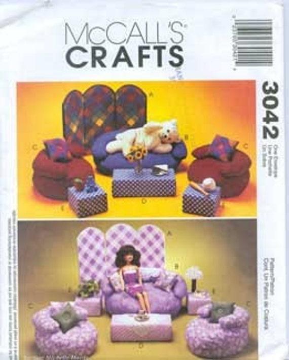 Barbie Amp Beanie Baby Bean Bag Furniture Mccalls 3042