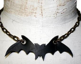 Halloween Bat Necklace in Rubber