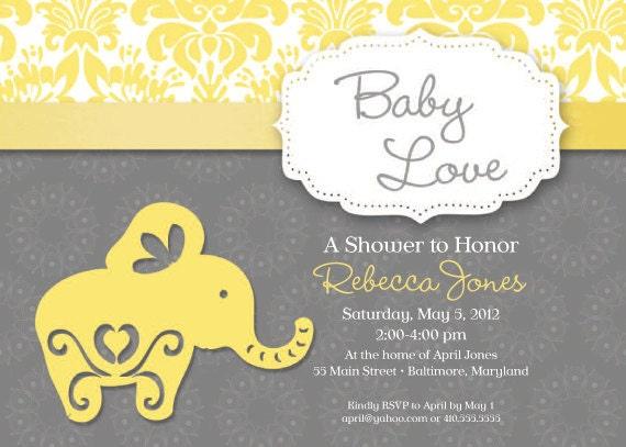 Elephant Theme Baby Shower Invitation Grey by SimplySocialDesigns
