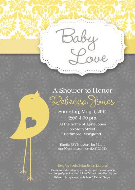 baby bird theme baby shower invitation grey by simplysocialdesigns