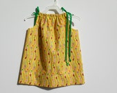 "Pillowcase Dress 18"" Long With Lady Bugs, Butterflies, & Hearts in Stripes on Yellow BG Plisse - HANDMADE - Other Patterns/Lengths Available"