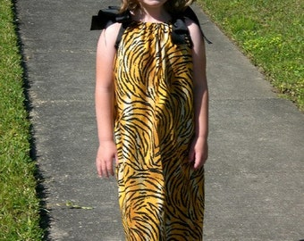 Girls' Pillowcase Dress - Tiger Print - Custom Lengths - Made to Order