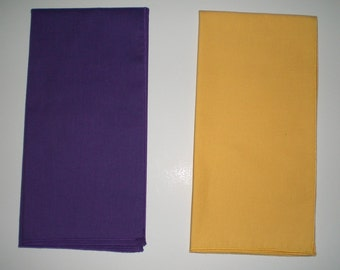 Solid Purple or Solid Gold 20-inch Square Napkins - Set of 4 - Other Colors and Patterns Also Available - Handmade