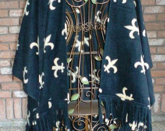 Ruana/Shawl - Black Fleece with Beige Fleur de Lis OR SAINTS Pattern - Go Saints!!