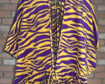 Purple and Gold Tiger Print Fleece Ruana/Shawl with Fringe - Scarf Also Available