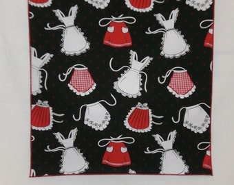 Decorative Kitchen Towel - Aprons on Black Background - Approximately 13 by 20 Inches Long - Other Patterns Available - Handmade