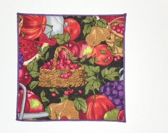 Pretty Baskets Filled With Fruits on Large 20-Inch Square Cloth Napkins - Set of 6 - HANDMADE - Matching Cocktail Napkins & Runner Available