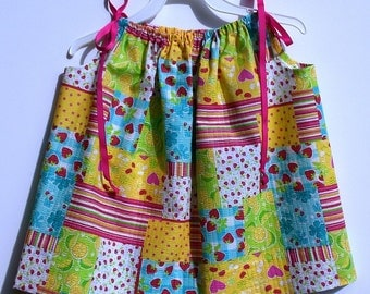 Pillowcase Dress - Plisse Multi Colored Squares With Prints - 16 or 19 Inches Long - HANDMADE