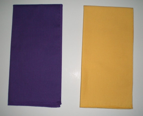 PURPLE OR GOLD CLOTH NAPKINS - LARGE 20-INCH SQUARES - SET OF 4