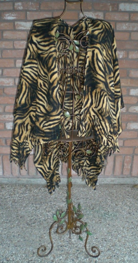 Tiger Print Fleece Ruana / Shawl with Fringe - Other Patterns Available - HANDMADE