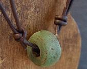 Mens Primitive Hebron Bead and Leather Necklace - Adjustable - No Metal