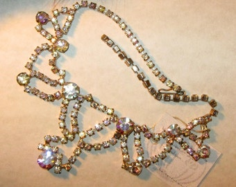 Be Sensational.... Vintage Aurora Borealis Rhinestone Necklace