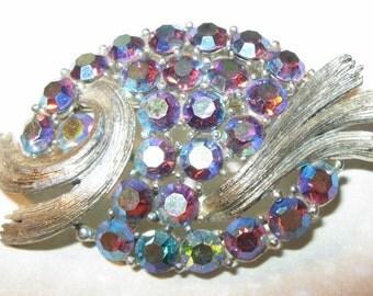 Be Glittery... Vintage Brooch with Blue Purple Aurora Borealis Rhinestones by Lisner