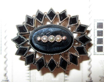 Be Demure... Tiny Antique Mourning Brooch in 10k Gold with Tiny Seed Pearls