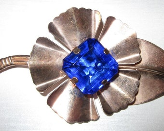 Be Exceptional... Very Large Sterling Vermeil Brooch Earring Set with Cobalt Blue Stones