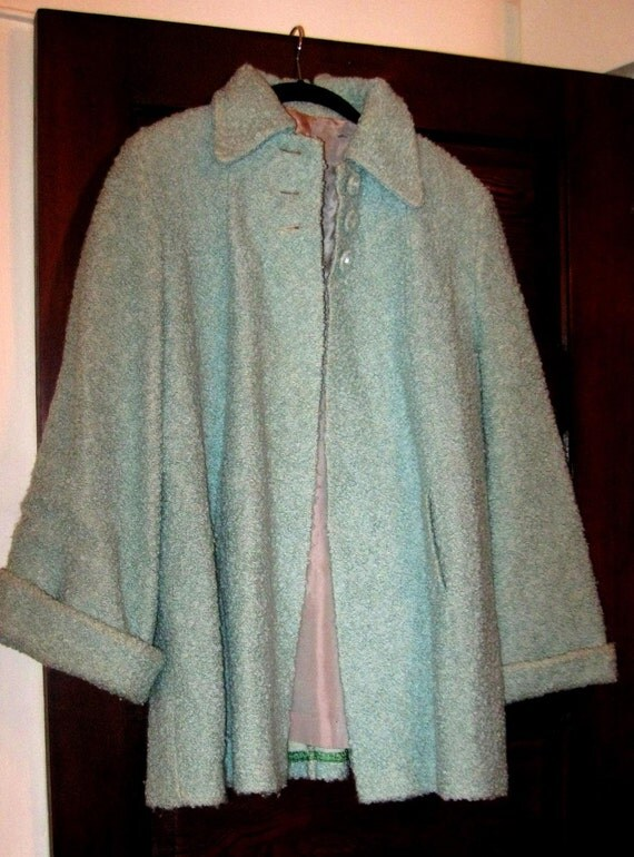 Be Original... Vintage 1950s Aqua Carpet Swing Coat with Rhinestone Buttons