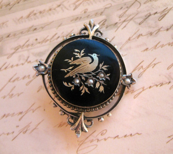 Be Exquisite... Antique 14k Gold Pique and Sterling Onyx Brooch Bird on Branch