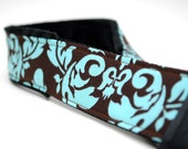 Camera Strap- Teal & Brown Damask