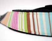 SLR Camera Strap- Pastel Stripes (green, blue, pink, orange)