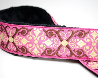 Pink Camera Strap - Pink and Cream Vintage