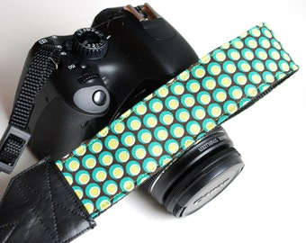dslr Camera Wrist Strap - - Padded Camera Strap - Nikon - Canon - Green Dots- READY TO SHIP
