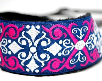 Camera Strap - DSLR SLR Camera Straps - Hot Pink and Blue Vintage