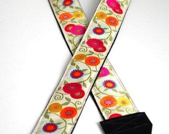 Camera Strap- EXTRA LONG Cream Wildflowers