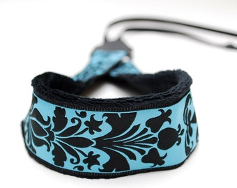 DSLR Camera Strap - Blue Padded Camera Strap - Nikon Strap - Canon Camera - Camera Accessories - Photographer Gifts - Blue & Black Damask