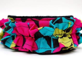 Camera Strap, slr/dslr, pink, teal, green- Summer Leaves Ruffle