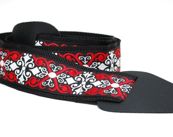 READY TO SHIP**Guitar Strap- Red Vintage