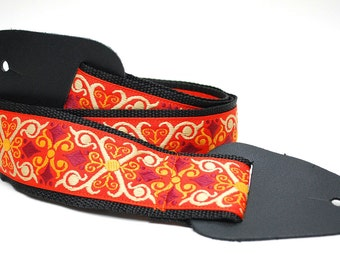Guitar Strap - Ukulele Strap - Orange Guitar Accessories - Muscian Gift - Guitar Strap Vintage - Tangerine Vintage - READY TO SHIP