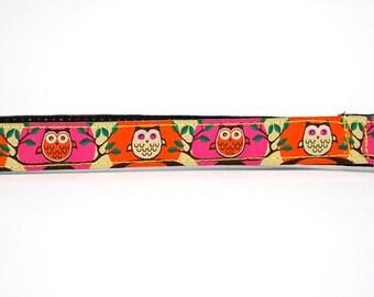 Point n Shoot Camera Wrist Strap- Pink/Orange Owls