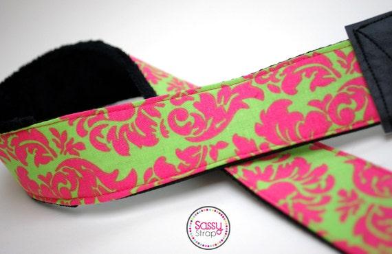Sassy Camera Strap- Pink & Green Damask