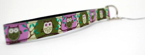 Point n Shoot Camera Wrist Strap- Green/Purple Owls