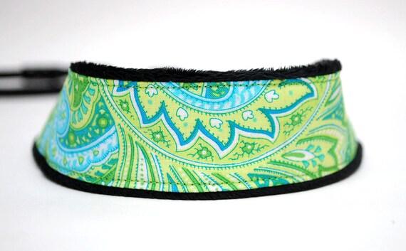 Green Paisley Camera Strap - SLR Camera Strap- Bahama Breeze