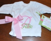 Monogrammed Newborn Kimono with or without Bow and Hand Covers