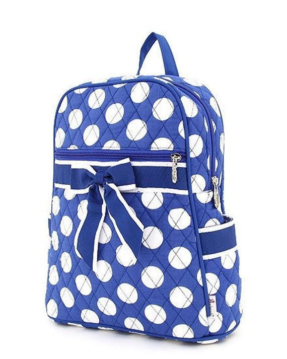 Quilted Royal Blue and White Polka Dotted Medium Backpack - Free Monogramming