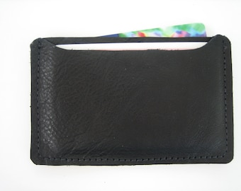 Black Woven Leather ID Holder