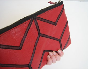 Red Leather iPad case/Chevron Clutch