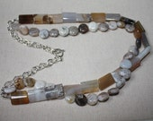 Agate necklace with tones of brown and grey and a silver chain