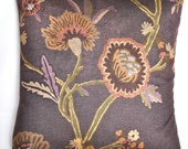Eggplant Purple Velvet with Crewel Print Design Pillow Cover - 20 x 20