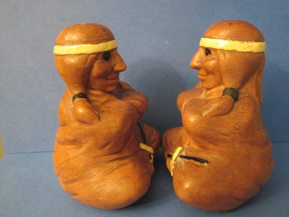 California Twin Winton Pottery - Native American Indian Caricature Salt and Pepper Shakers