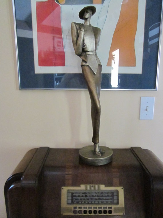 SALE - Vogue - 1987 David Fisher Art Deco Style Metal Sculpture