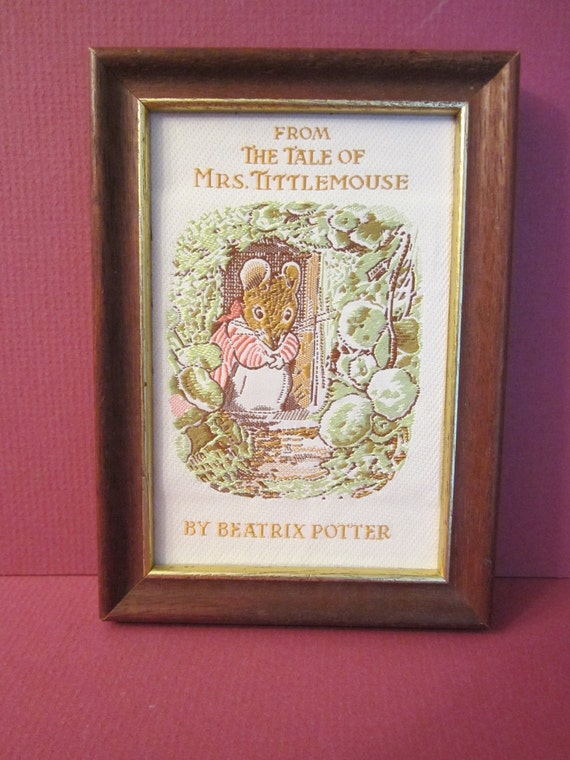 Beatrix Potter's Mrs Tittlemouse Woven Silk Picture from J J Cash Coventry England