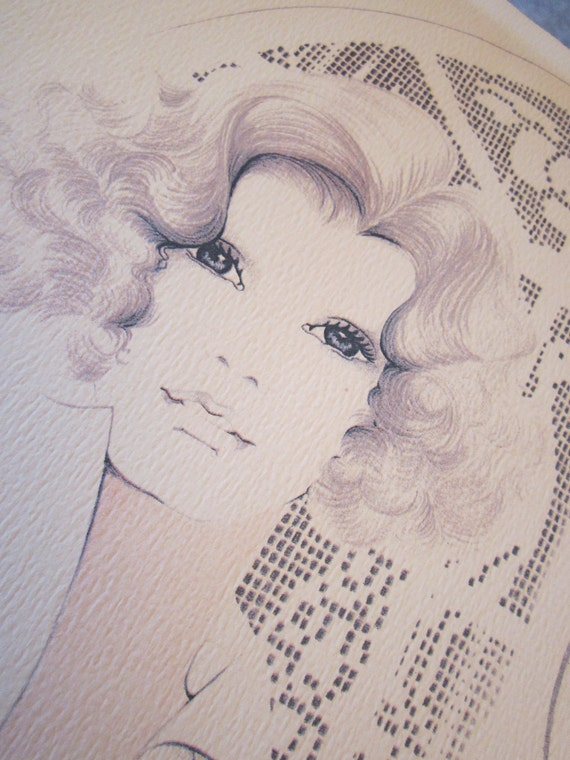 Lithograph of a Seventies Beauty - William Tara