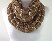 Infinity Scarf Beige Camel Neutral White Stripe, Cotton Lace Satin, Loop Scarf, Handmade Circle Scarves