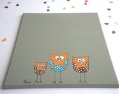 Door sign- Owls - Green sign, family sign, office sign, front sign, personalized door sign