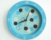 Children/ nursery wall clock- Brown and Blue Bubbles- hand painted on round wooden clock