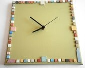 Spring Wall clock- Hand painted on canvas-  square- olive green