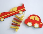Children's  Artwork display hanger- Cars - Yellow and Red transportation wall art for Boys - kids wall decor hangers